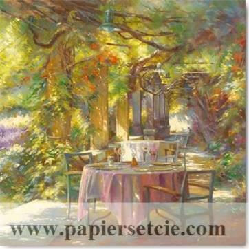 Carte Johan Messely Nappes roses sous la tonnelle