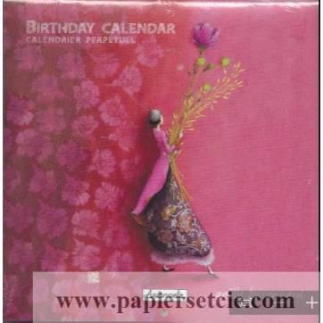 Calendrier d'anniversaires perpétuel Gaëlle Boissonnard La Fleur rose