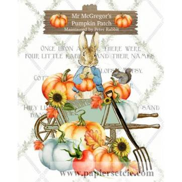 Carte artisanale Vintage Beatrix Potter Peter Rabbit en automne