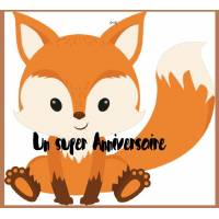 Carte artisanale simple Petit Renard assis Un Super Anniversaire