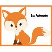 Carte artisanale simple Petit Renard Bon Anniversaire