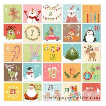 Kit calendrier de l'Avent motifs de Noël couleurs vives