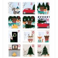 Kit calendrier de l'Avent motifs de Noël animaux des bois