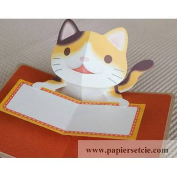 "Carte 3 D Pop Up DIY à monter soi-même ""Chaton Roux"""