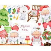 Carte artisanale Joyeux Noël Père et Mère Noel