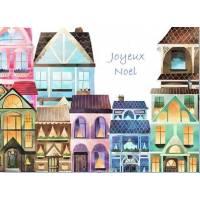 Carte artisanale Joyeux Noël Maisons illuminées