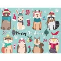 Carte artisanale Merry Christmas Animaux de la Forêt et bonnets