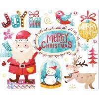 Carte artisanale Merry Christmas Père Noel et Renne
