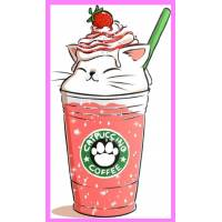 "Carte artisanale Chat ""Catpuccino Strawberry"""