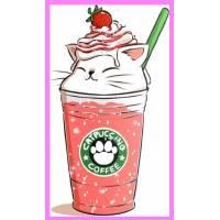 "Carte artisanale Chat ""Catpuccino Strawberry"""
