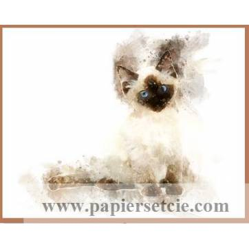Carte artisanale Aquarelle Chat Chaton Siamois