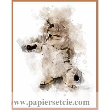 Carte artisanale Aquarelle Chat Chaton Tigré