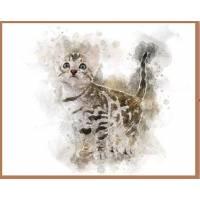 Carte artisanale Aquarelle Chat Chaton Tigré Yeux Gris