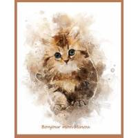 Carte artisanale Aquarelle Chat Bonjour mon Minou