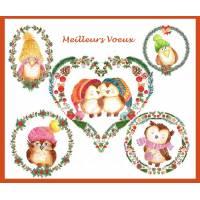 Carte artisanale Meilleurs Voeux Chouettes et Coeurs