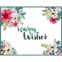 Carte artisanale Meilleurs Voeux Warm Wishes Poinsettias Roses et Blancs