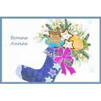 Carte artisanale Bonne Année chaussette bleue et cadeaux