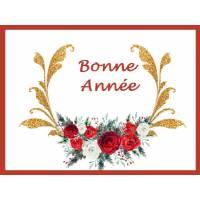 Carte artisanale Bonne Année roses rouges et blanches, Dorures