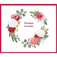 Carte artisanale Bonne Année Couronne Roses Fushias et Rouges, Eucalyptus
