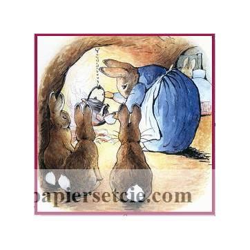 Carte artisanale Vintage Beatrix Potter Peter Rabbit dîner en famille