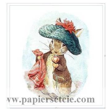Carte artisanale Vintage Beatrix Potter Peter Rabbit et son béret vert