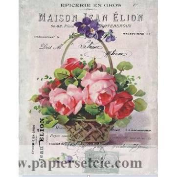 """Carte artisanale Vintage """"Epicerie en gros, panier de Roses"""""""
