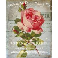 "Carte artisanale Vintage Paris ""Journal de Paris"" et Roses"