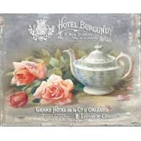 """Carte artisanale Vintage Paris """"Hôtel Burgundy"""" tea Time"""