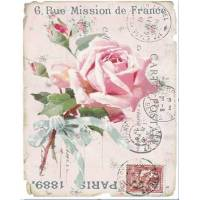 "Carte artisanale Vintage Paris ""Mission de France"" et Rose"