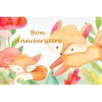 """Carte artisanale Bon Anniversaire""""Les petits renards"""""""