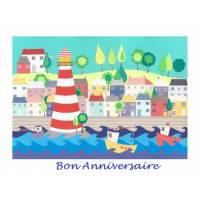 """Carte artisanale Bon Anniversaire""""Le Port"""""""
