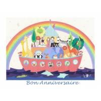 """Carte artisanale Bon Anniversaire""""L'Arche de Noé"""""""