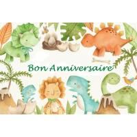 """Carte artisanale Bon Anniversaire""""Les petits Dinosaures"""""""