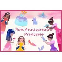 """Carte artisanale Bon Anniversaire """"Princesse"""""""