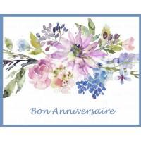 """Carte artisanale Bon Anniversaire """"Fleurs mauves et bleues"""""""""""