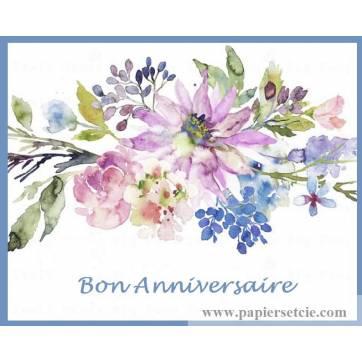 """Carte artisanale Bon Anniversaire """"Fleurs mauves et bleues"""""""