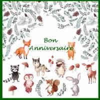 """Carte artisanale Bon Anniversaire""""Les Animaux de la Forêt"""""""