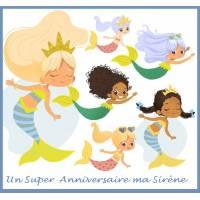 """Carte artisanale Un Super Anniversaire """"Ma Sirène"""""""