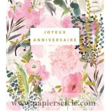 Carte Anniversaire Stephanie Dyment Joyeux Anniversaire Fond Rose Fleurs Roses Et Eucalyptus