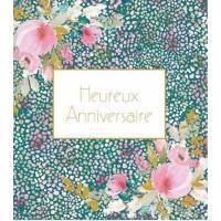 Carte Anniversaire Stephanie Dyment Heureux Anniversaire Fond bleu et points colorés,fleurs roses