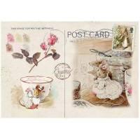 Carte artisanale Vintage Beatrix Potter Famille Souris et service à Thé
