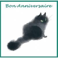 Carte artisanale Chat Bon Anniversaire Chat Noir
