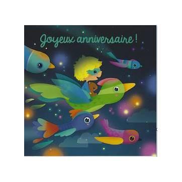 Carte Elen Lescoat Joyeux Anniversaire Vol sur un oiseau