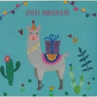 """Carte Sophie Zazzeroni """"Joyeux Anniversaire"""" Le Lama"""
