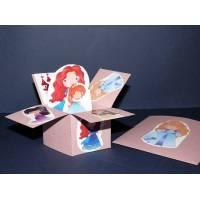 Carte 3 D Pop Up Rose Les princesses