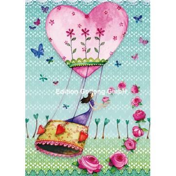 Carte Anniversaire Mila Marquis La Montgolfiere Coeur Et Fleurs