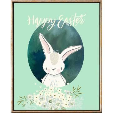 "Carte de Pâques Lapinou ""Happy Easter"" fond vert"