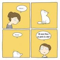 """Carte Chat """"Oh mon dieu! Je parle le chat!"""""""