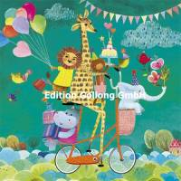 Carte Mila Marquis Bon Anniversaire les animaux à bicyclette