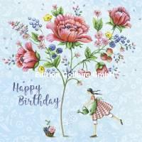Carte Nina Chen Happy Birthday sous les Coquelicots
